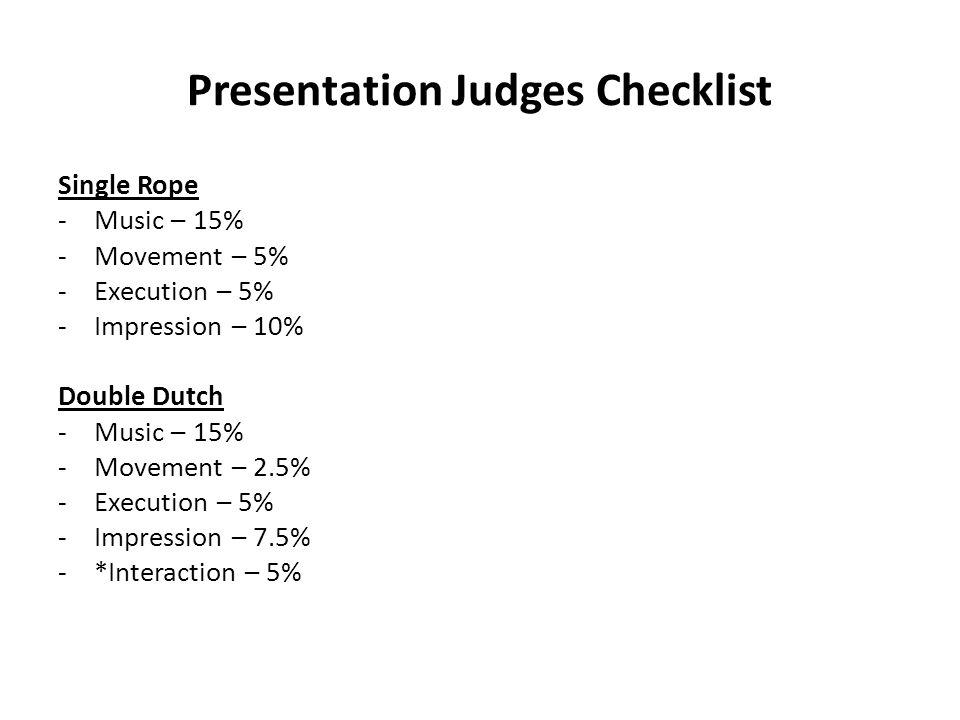 Presentation Judges Checklist