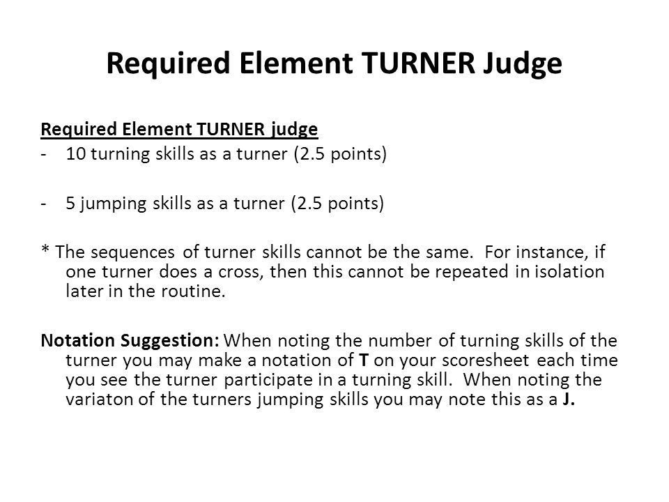 Required Element TURNER Judge