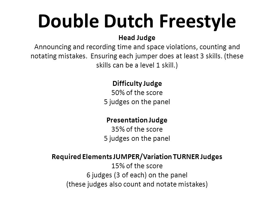 Double Dutch Freestyle Head Judge Announcing and recording time and space violations, counting and notating mistakes.