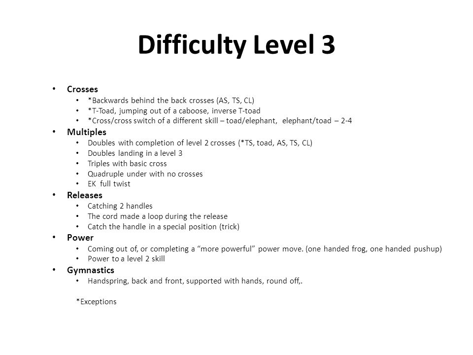 Difficulty Level 3 Crosses Multiples Releases Power Gymnastics