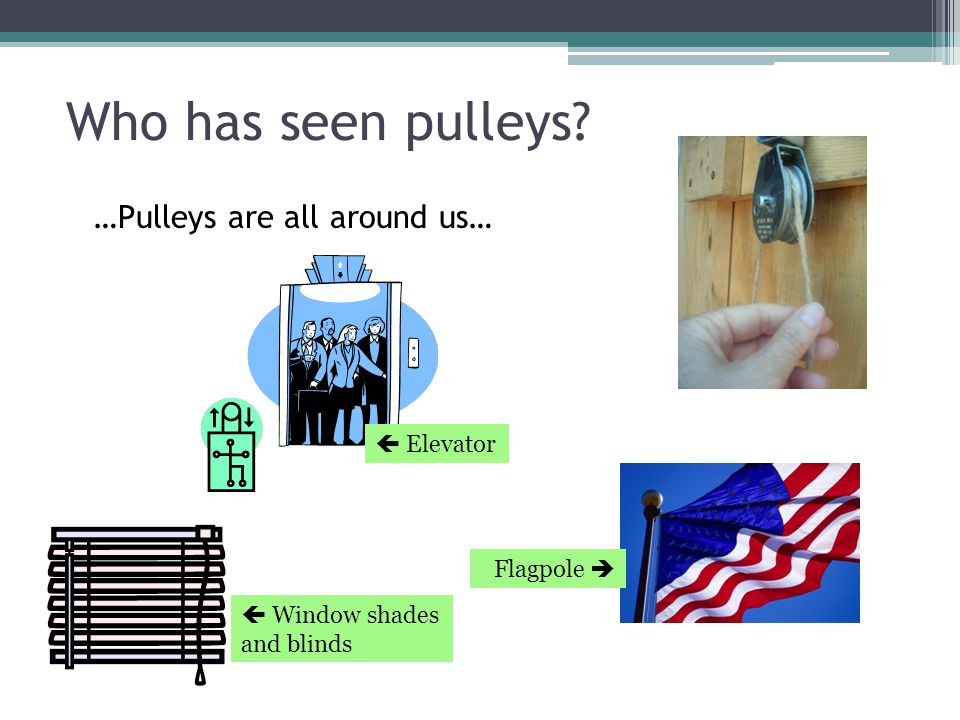 Who has seen pulleys …Pulleys are all around us…  Elevator