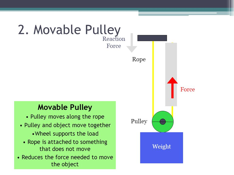 2. Movable Pulley Movable Pulley Reaction Force Rope Force