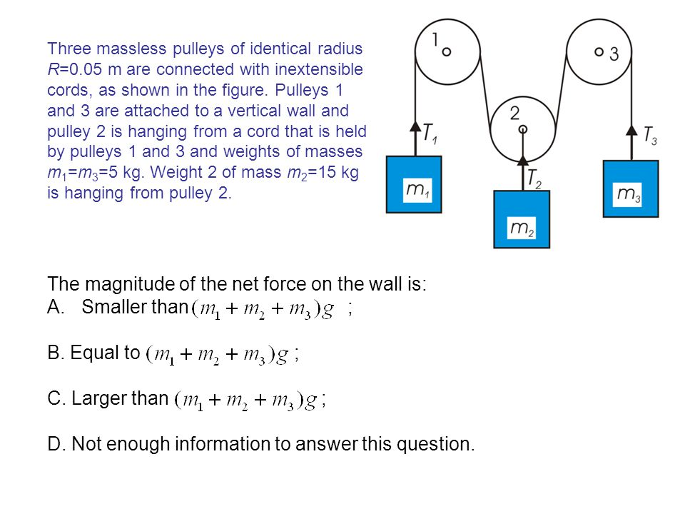 The magnitude of the net force on the wall is: Smaller than ;
