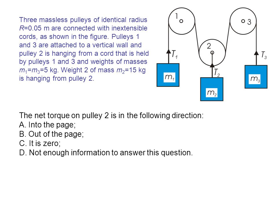 The net torque on pulley 2 is in the following direction: