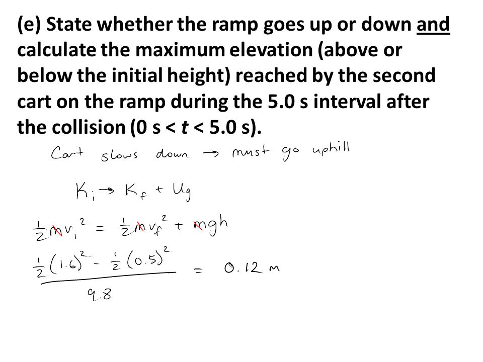 (e) State whether the ramp goes up or down and calculate the maximum elevation (above or below the initial height) reached by the second cart on the ramp during the 5.0 s interval after the collision (0 s < t < 5.0 s).
