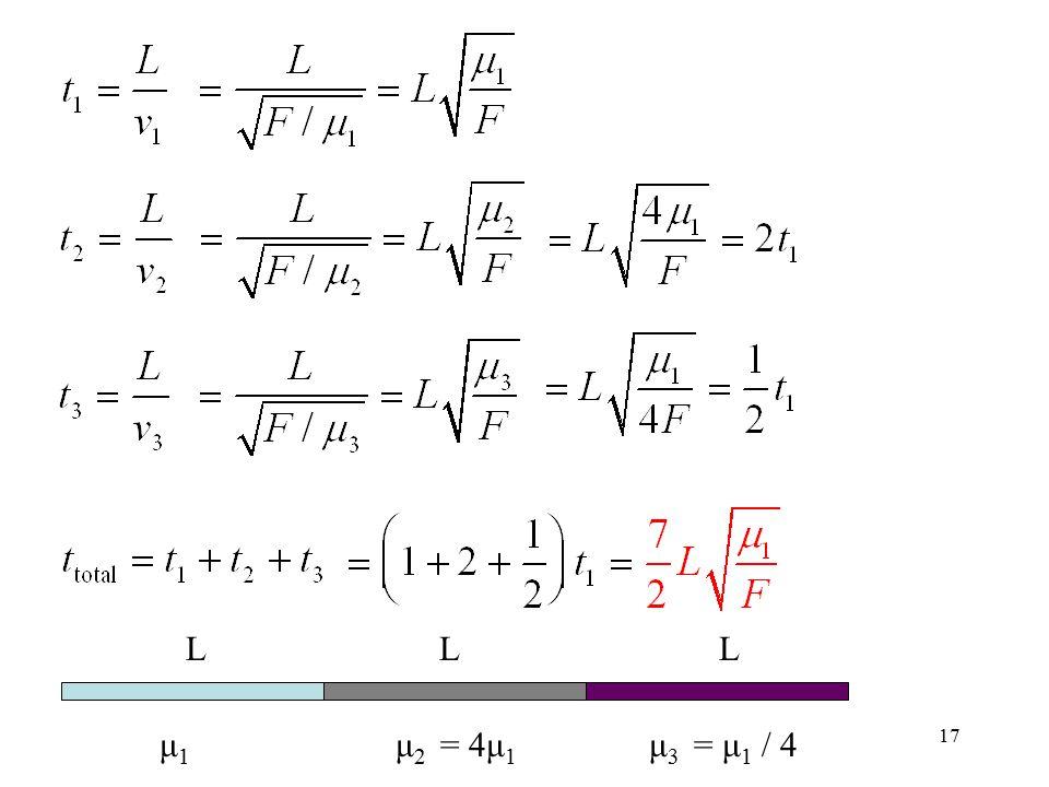 μ1 μ2 = 4μ1 μ3 = μ1 / 4 L