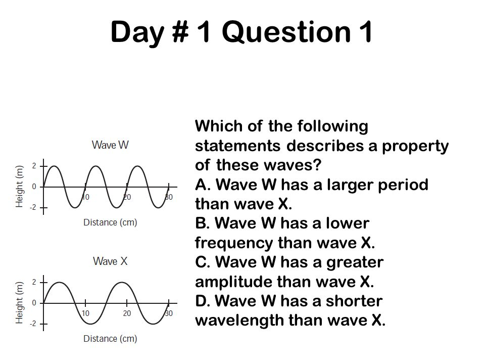 Day # 1 Question 1 Which of the following statements describes a property of these waves A. Wave W has a larger period than wave X.