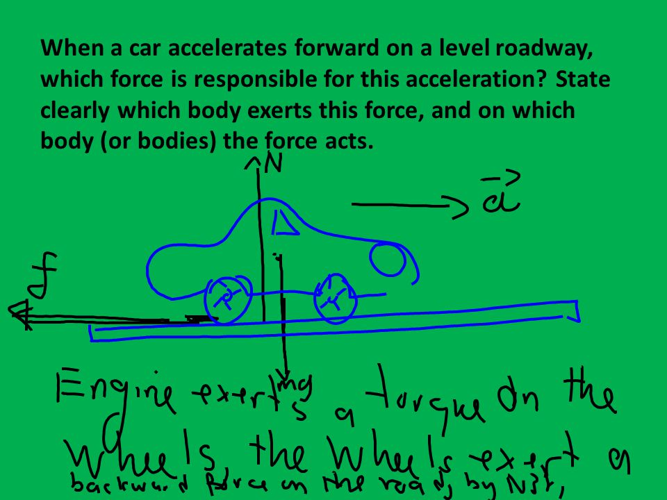 When a car accelerates forward on a level roadway, which force is responsible for this acceleration.