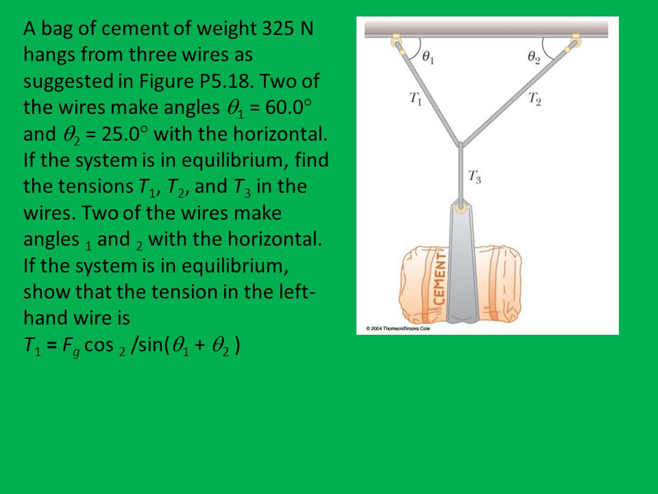 A bag of cement of weight 325 N hangs from three wires as suggested in Figure P5.18. Two of the wires make angles 1 = 60.0 and 2 = 25.0 with the horizontal. If the system is in equilibrium, find the tensions T1, T2, and T3 in the wires. Two of the wires make angles 1 and 2 with the horizontal. If the system is in equilibrium, show that the tension in the left-hand wire is