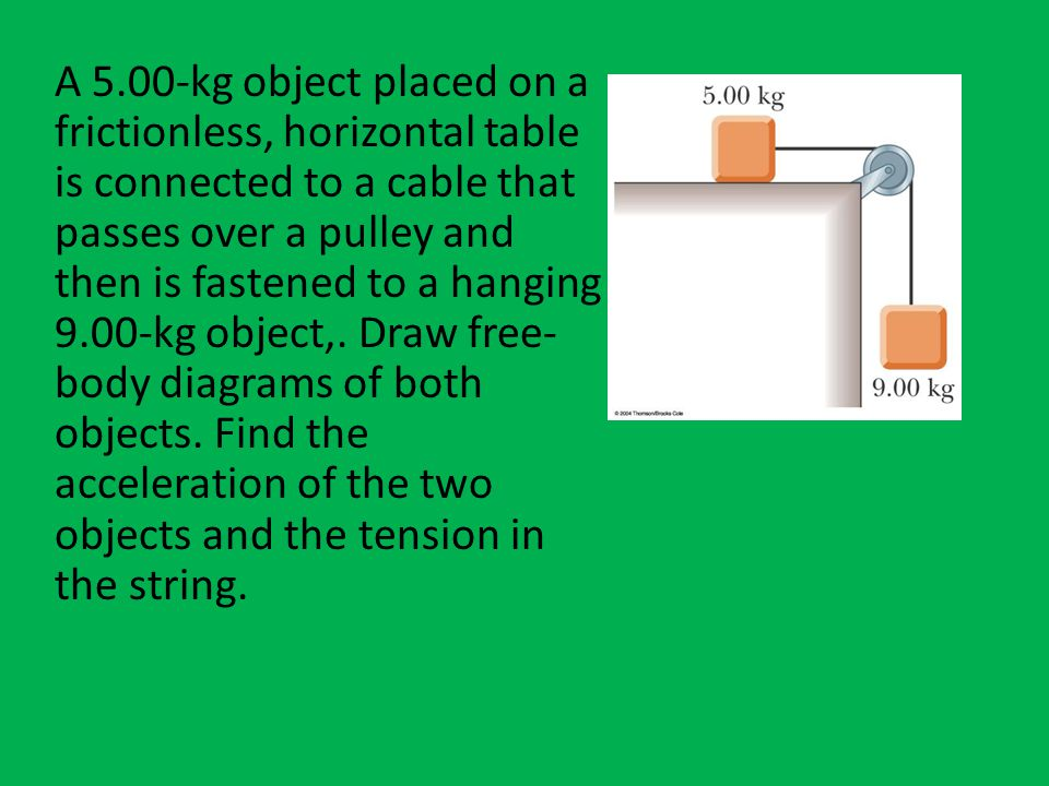 A 5.00-kg object placed on a frictionless, horizontal table is connected to a cable that passes over a pulley and then is fastened to a hanging 9.00-kg object,.