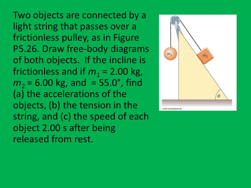 Two objects are connected by a light string that passes over a frictionless pulley, as in Figure P5.26.