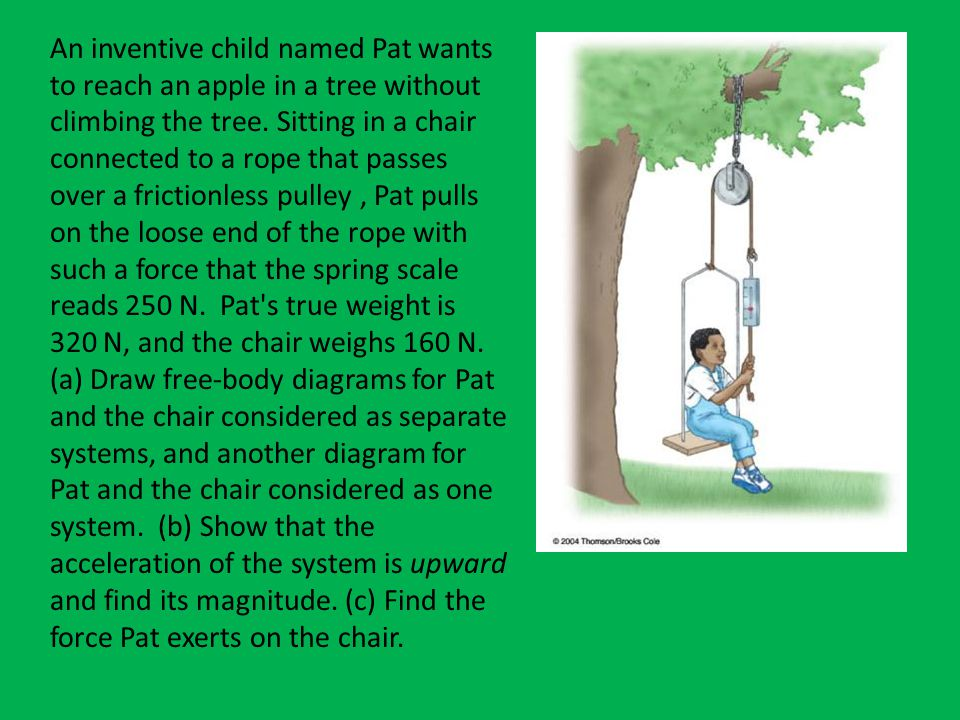 An inventive child named Pat wants to reach an apple in a tree without climbing the tree. Sitting in a chair connected to a rope that passes over a frictionless pulley , Pat pulls on the loose end of the rope with such a force that the spring scale reads 250 N. Pat s true weight is