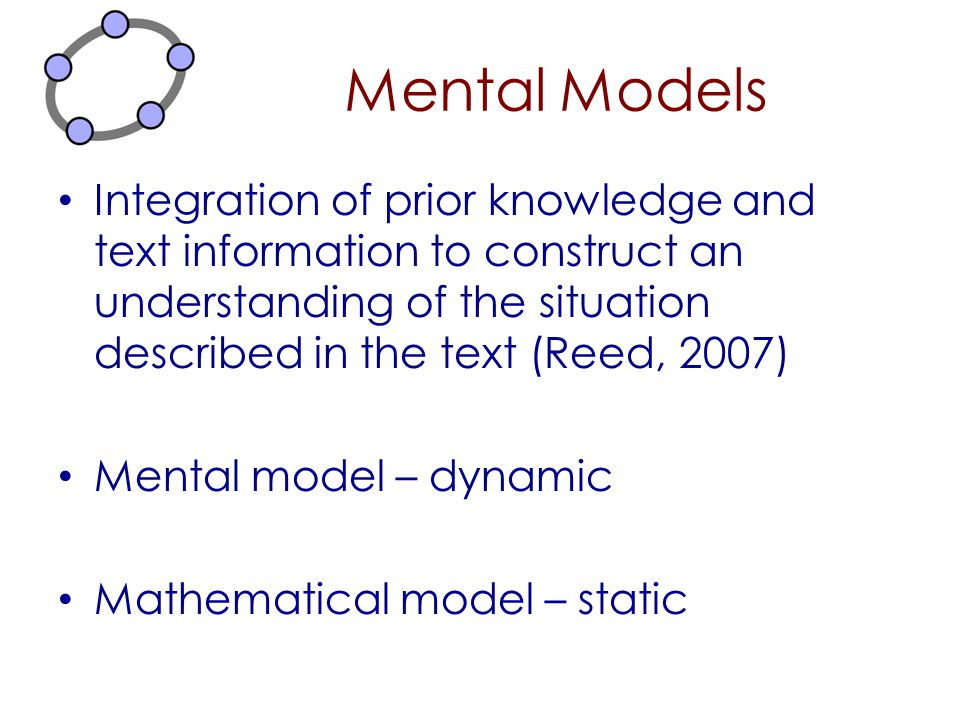 Mental Models Integration of prior knowledge and text information to construct an understanding of the situation described in the text (Reed, 2007)