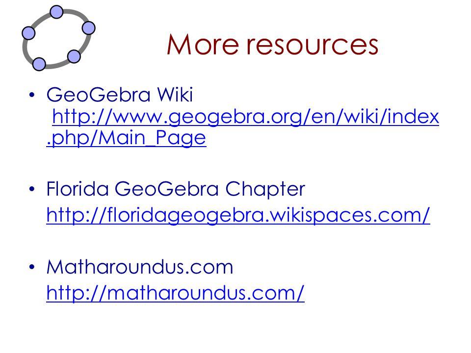 More resources GeoGebra Wiki http://www.geogebra.org/en/wiki/index.php/Main_Page. Florida GeoGebra Chapter.