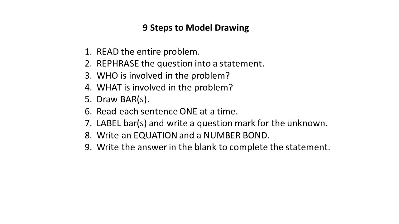 9 Steps to Model Drawing 1. READ the entire problem. 2. REPHRASE the question into a statement. 3. WHO is involved in the problem