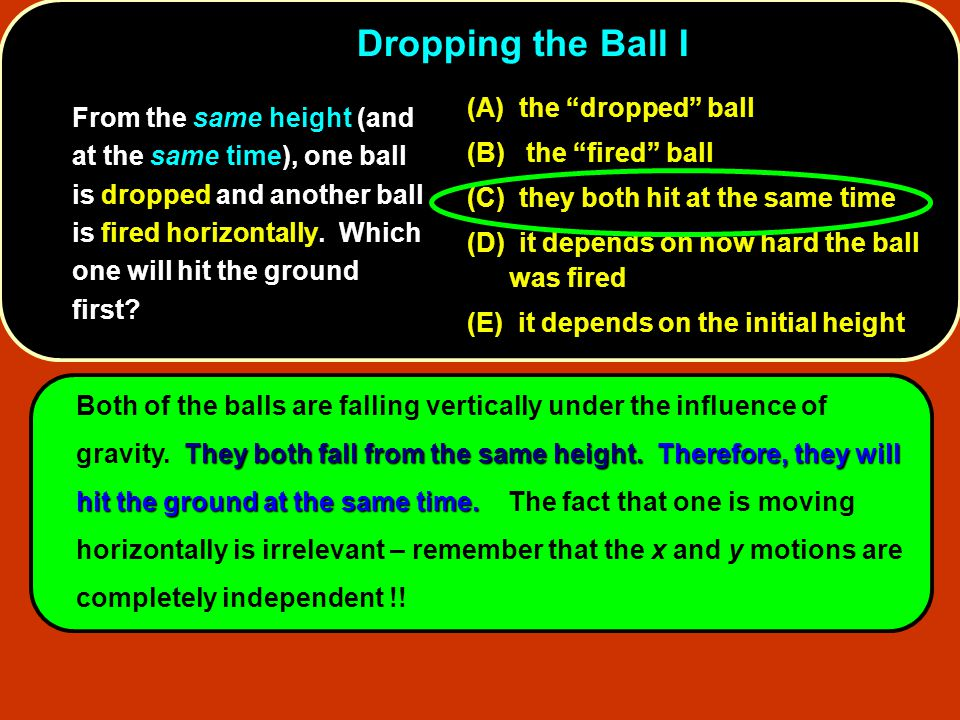 Dropping the Ball I (A) the dropped ball