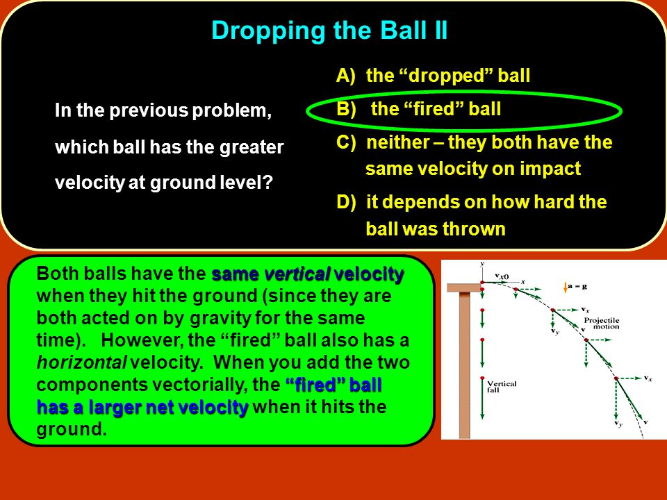 Dropping the Ball II A) the dropped ball. B) the fired ball. C) neither – they both have the same velocity on impact.