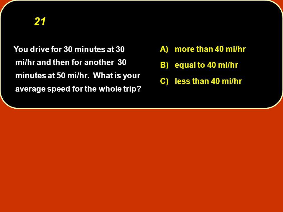 21 A) more than 40 mi/hr B) equal to 40 mi/hr