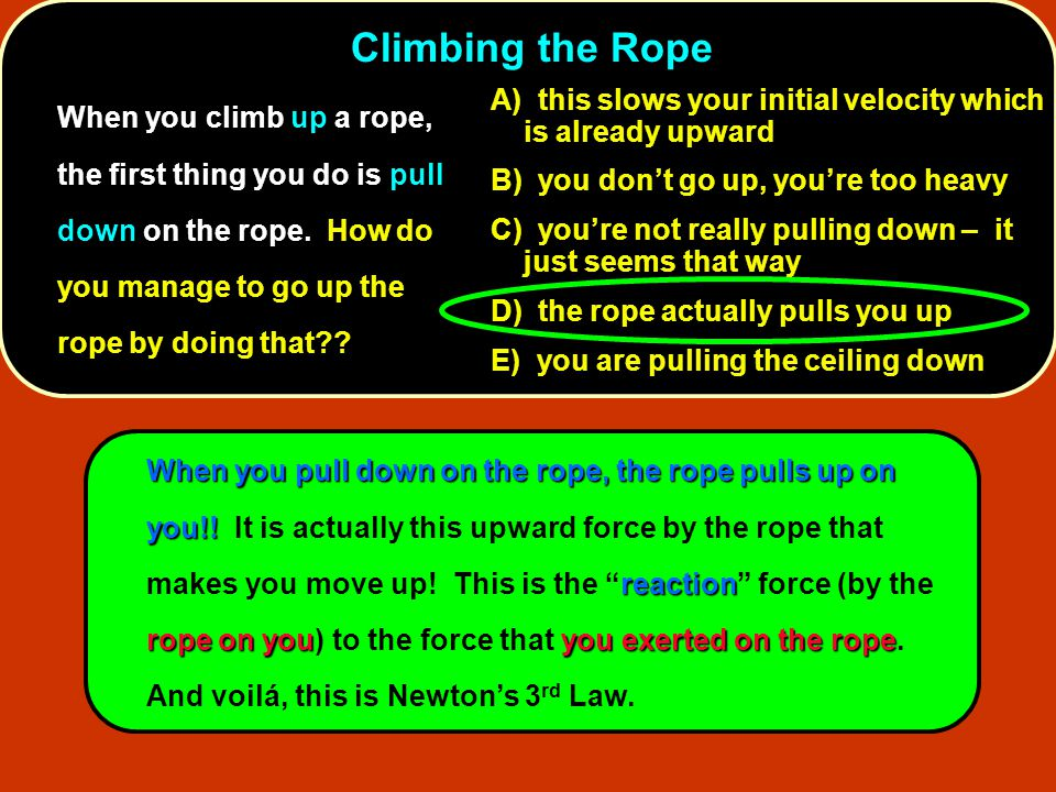Climbing the Rope When you climb up a rope, the first thing you do is pull down on the rope. How do you manage to go up the rope by doing that