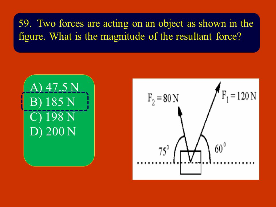 59. Two forces are acting on an object as shown in the figure