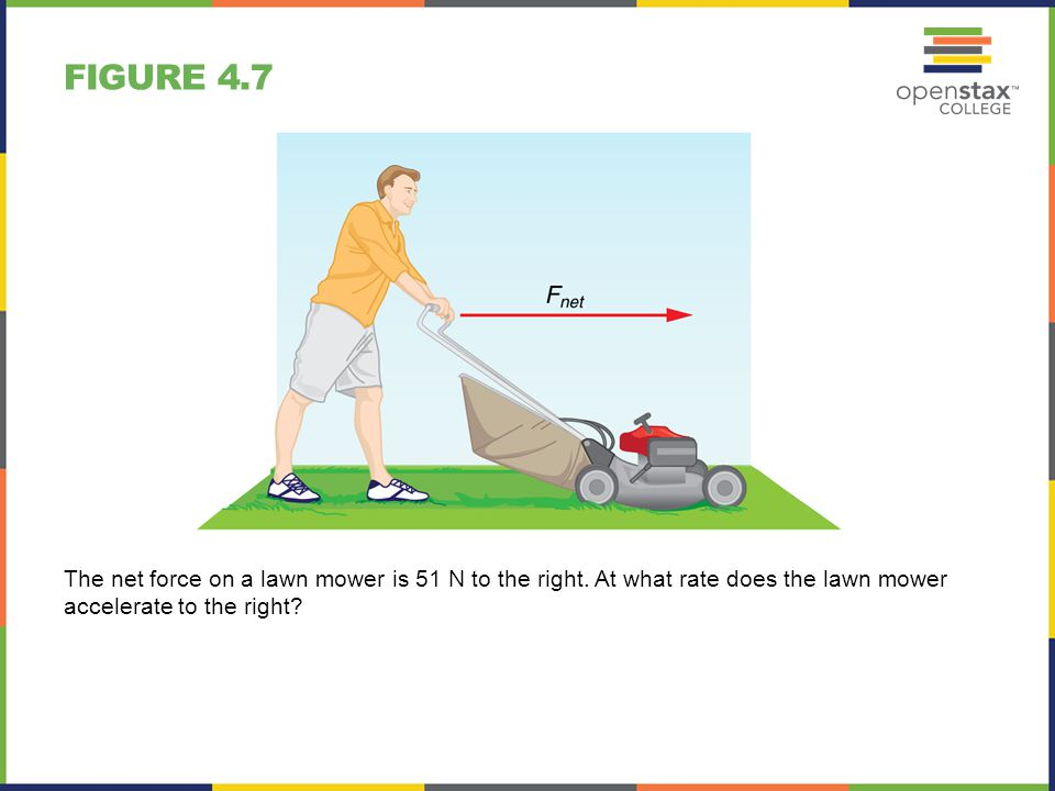 Figure 4.7 The net force on a lawn mower is 51 N to the right.