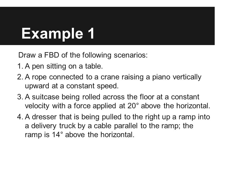 Example 1 Draw a FBD of the following scenarios: