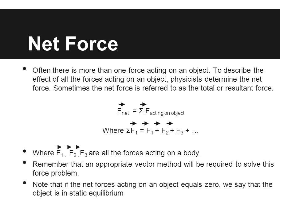 Fnet = Σ Facting on object