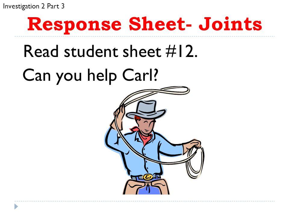 Response Sheet- Joints