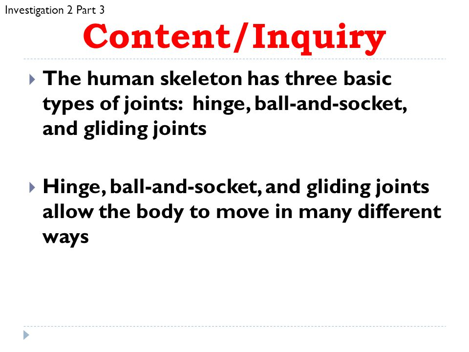 Investigation 2 Part 3 Content/Inquiry. The human skeleton has three basic types of joints: hinge, ball-and-socket, and gliding joints.