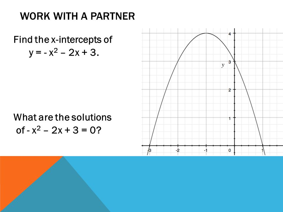 Work with a partner Find the x-intercepts of y = - x2 – 2x + 3.