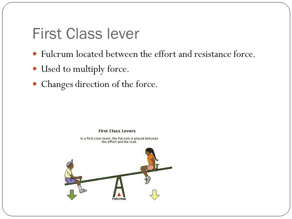 First Class lever Fulcrum located between the effort and resistance force. Used to multiply force.