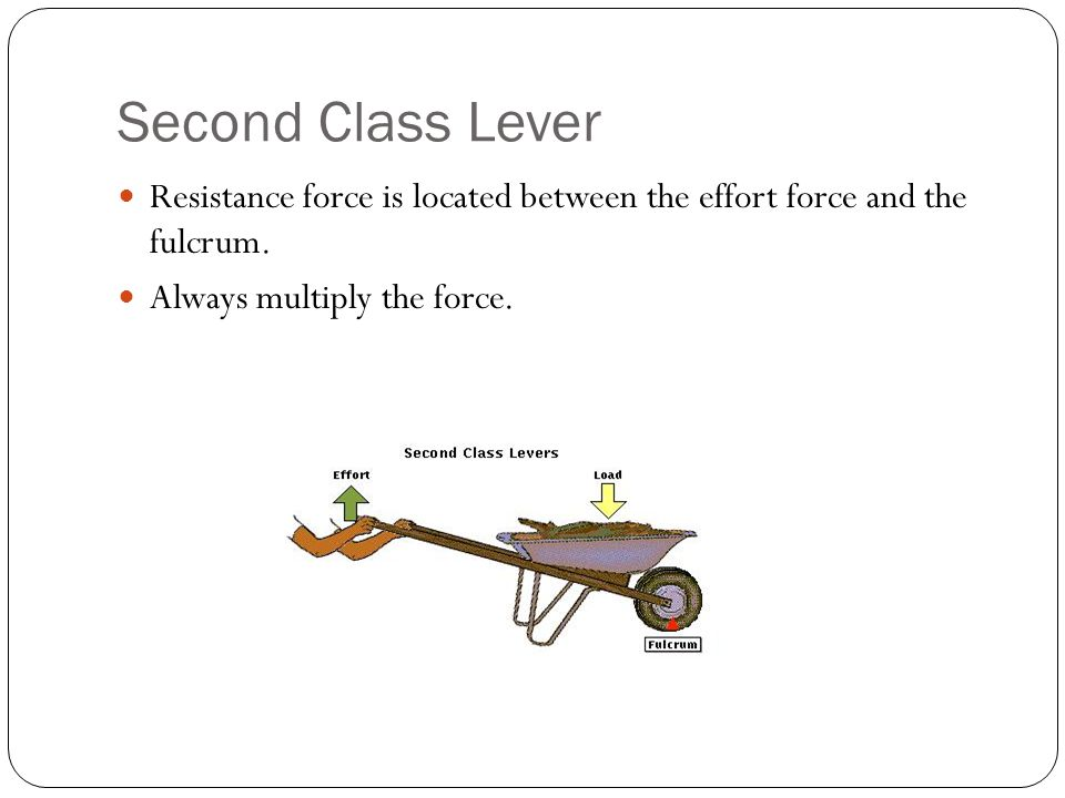 Second Class Lever Resistance force is located between the effort force and the fulcrum.
