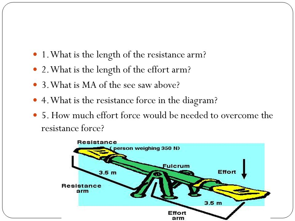 1. What is the length of the resistance arm
