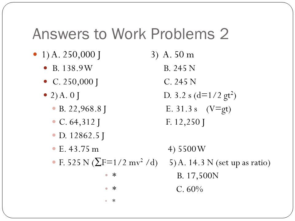 Answers to Work Problems 2