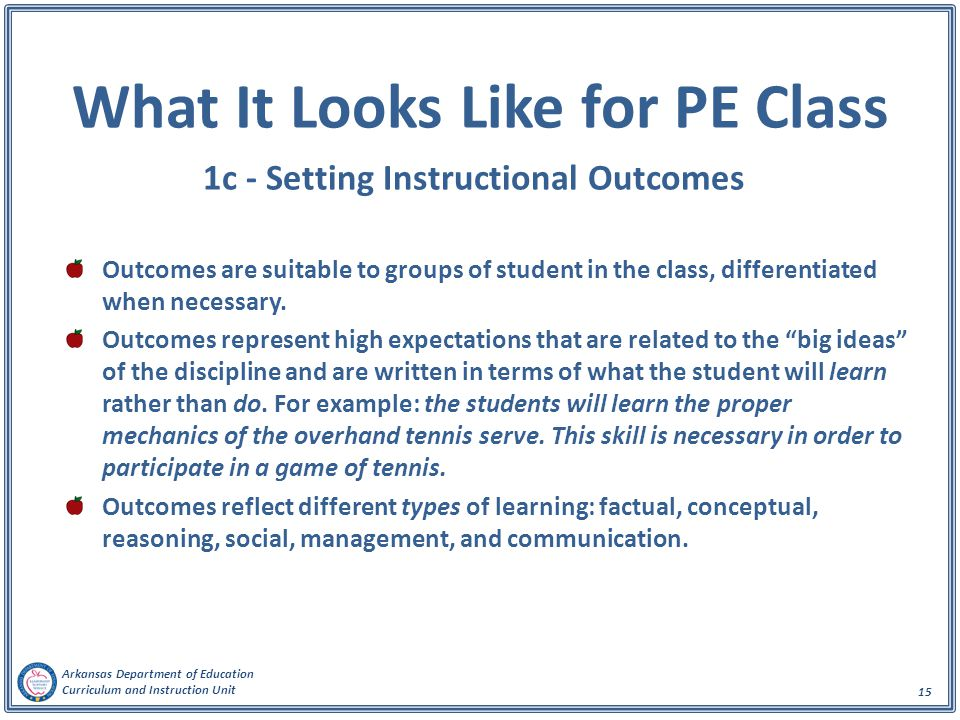 What It Looks Like for PE Class 1c - Setting Instructional Outcomes