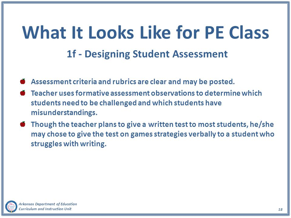 What It Looks Like for PE Class 1f - Designing Student Assessment