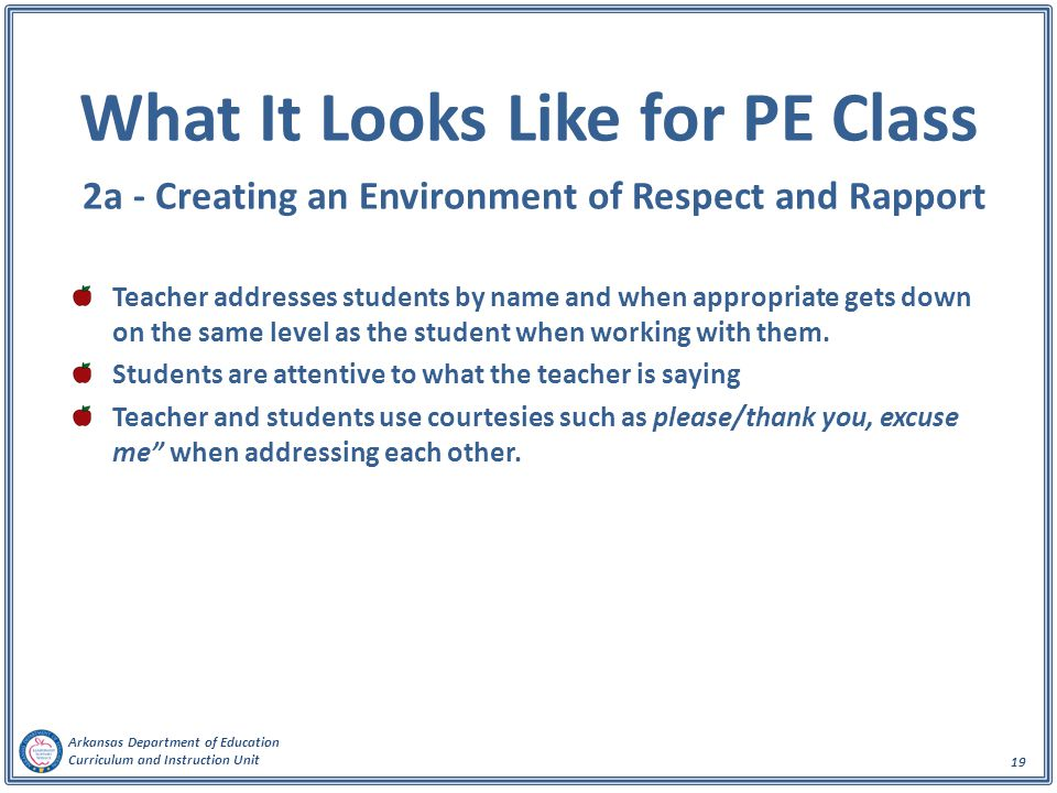 What It Looks Like for PE Class 2a - Creating an Environment of Respect and Rapport