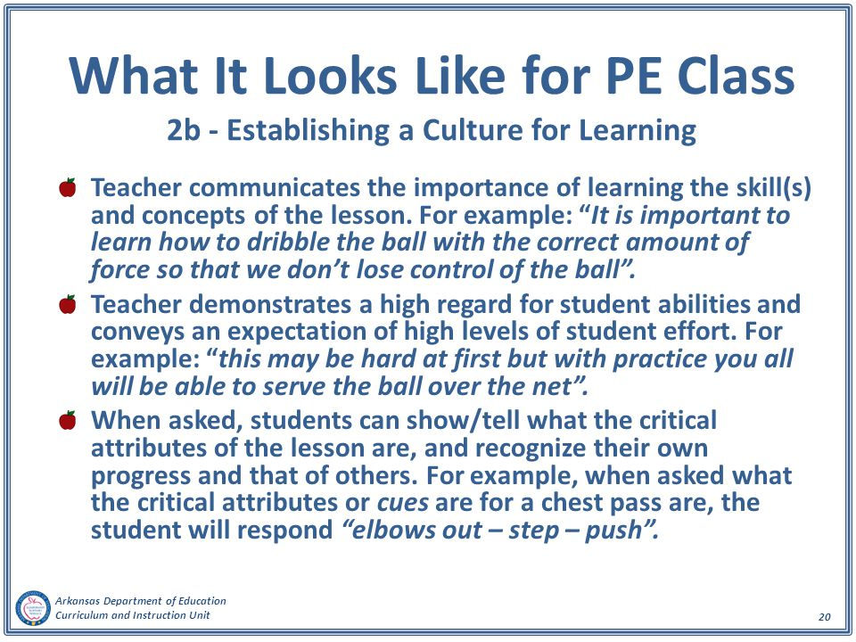 What It Looks Like for PE Class 2b - Establishing a Culture for Learning