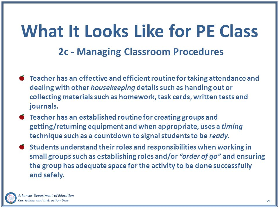 What It Looks Like for PE Class 2c - Managing Classroom Procedures