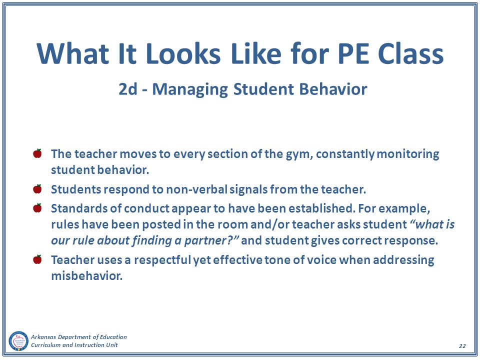 What It Looks Like for PE Class 2d - Managing Student Behavior