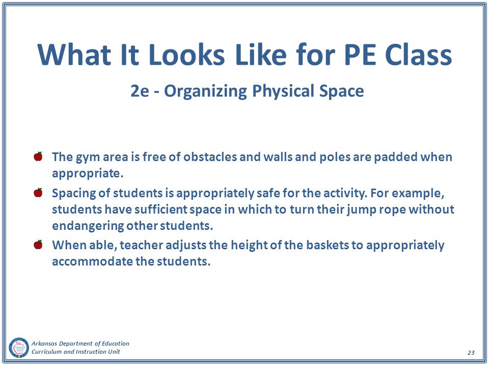 What It Looks Like for PE Class 2e - Organizing Physical Space