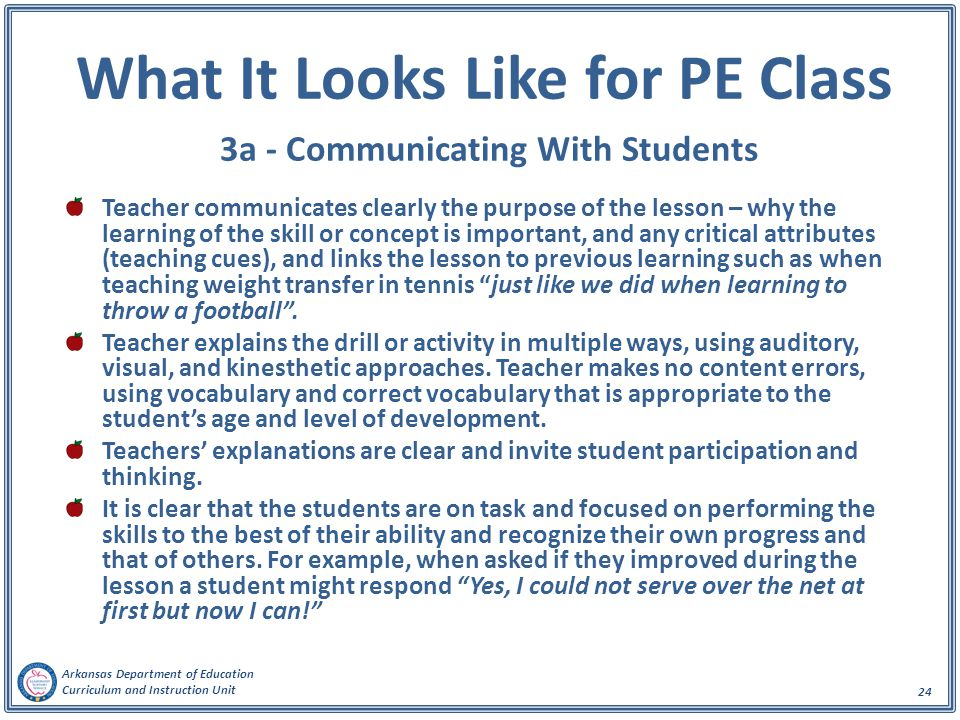 What It Looks Like for PE Class 3a - Communicating With Students