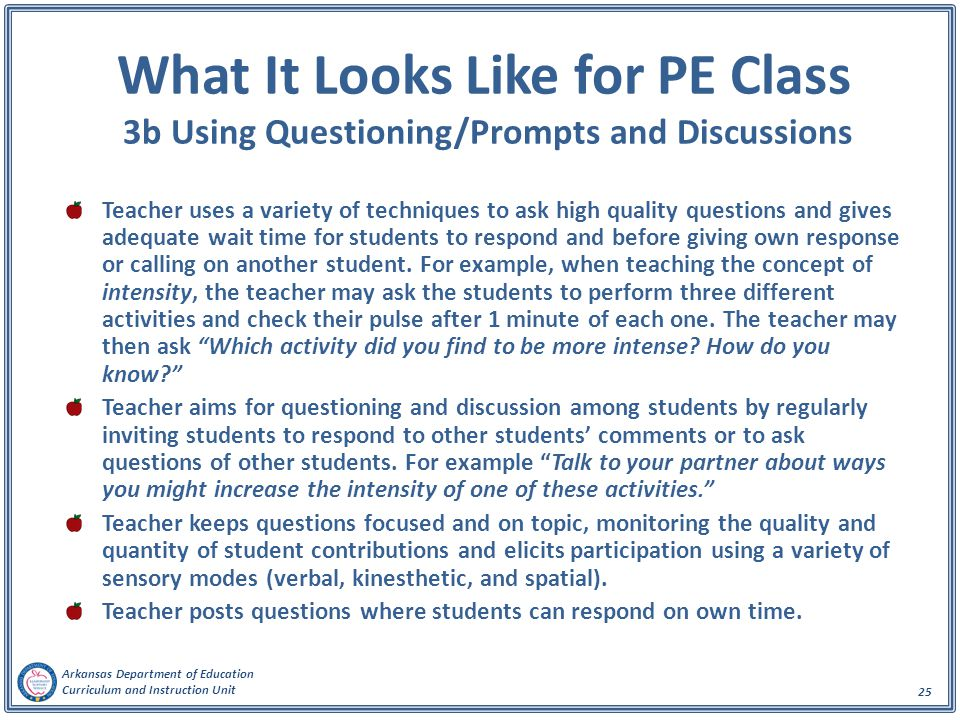 What It Looks Like for PE Class 3b Using Questioning/Prompts and Discussions