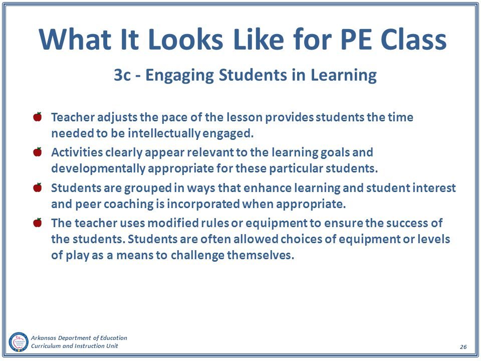 What It Looks Like for PE Class 3c - Engaging Students in Learning