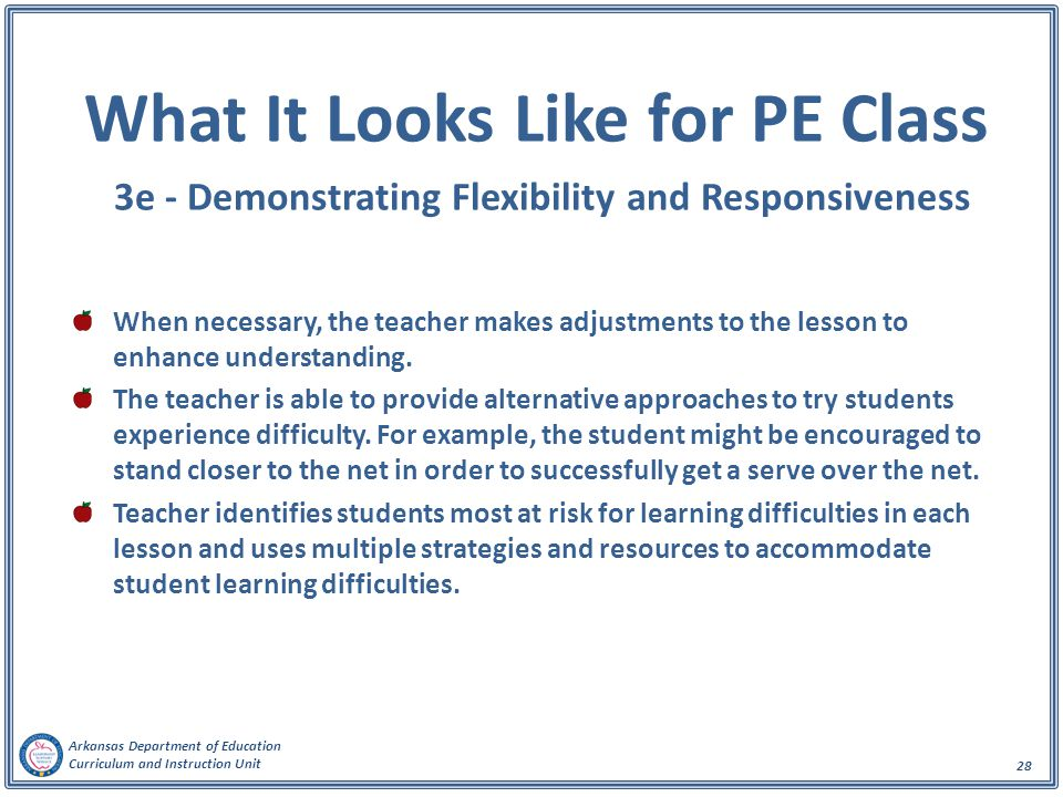 What It Looks Like for PE Class 3e - Demonstrating Flexibility and Responsiveness