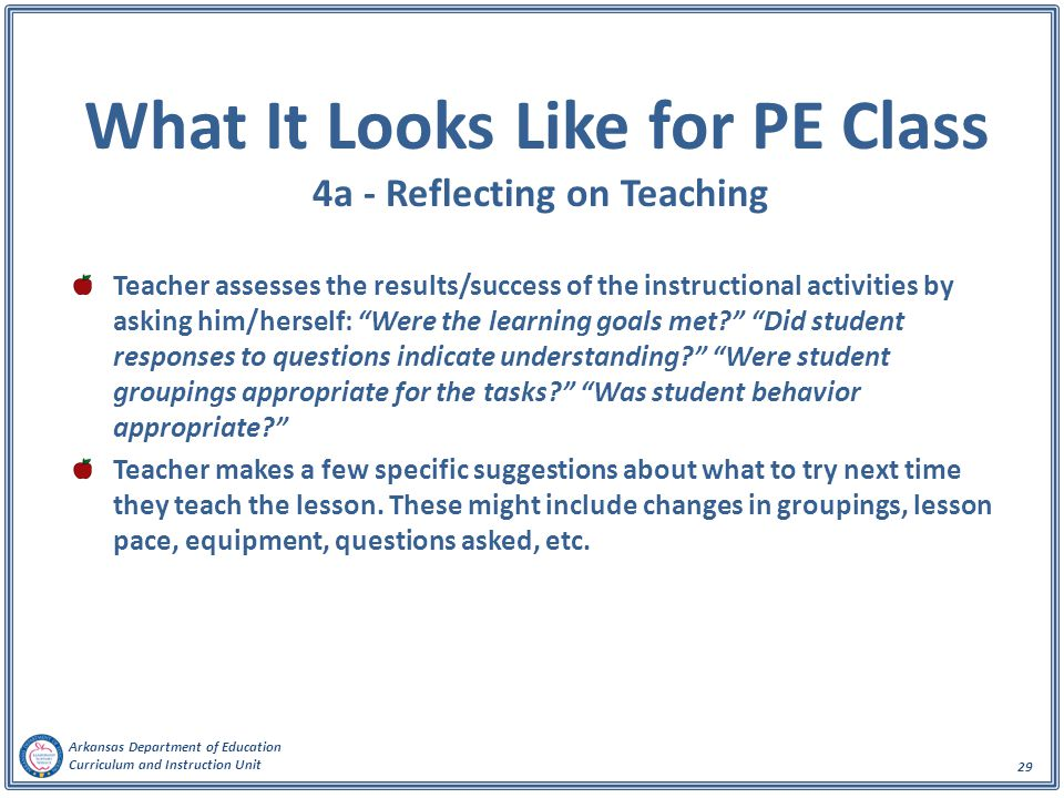 What It Looks Like for PE Class 4a - Reflecting on Teaching
