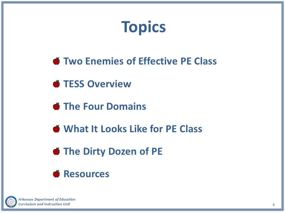 Topics Two Enemies of Effective PE Class TESS Overview