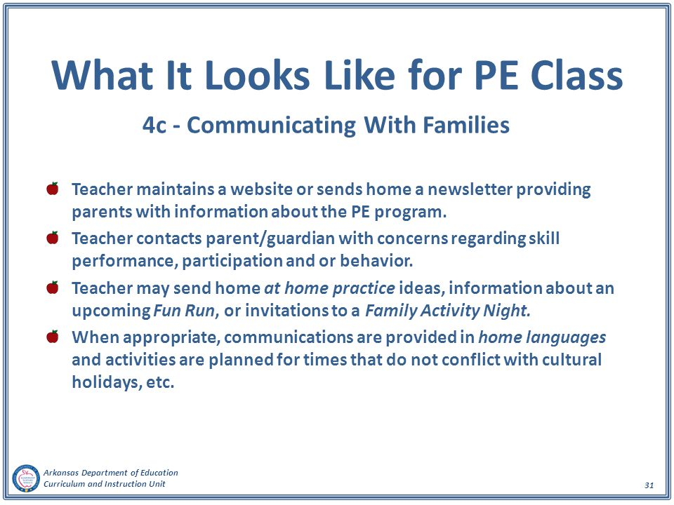What It Looks Like for PE Class 4c - Communicating With Families