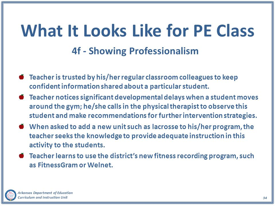 What It Looks Like for PE Class 4f - Showing Professionalism