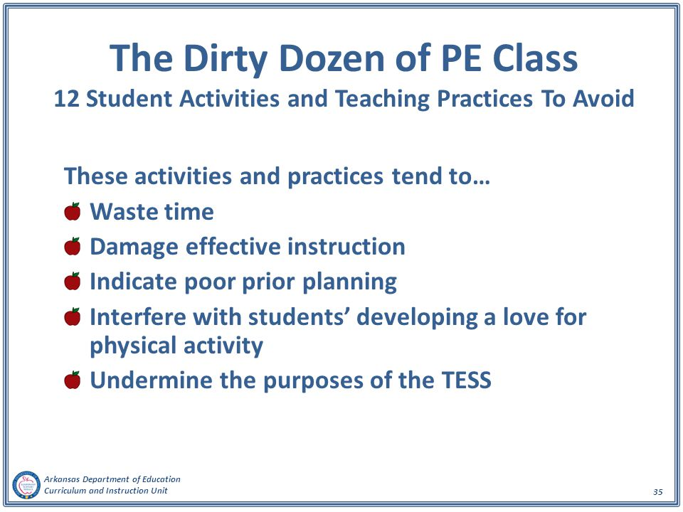 The Dirty Dozen of PE Class 12 Student Activities and Teaching Practices To Avoid